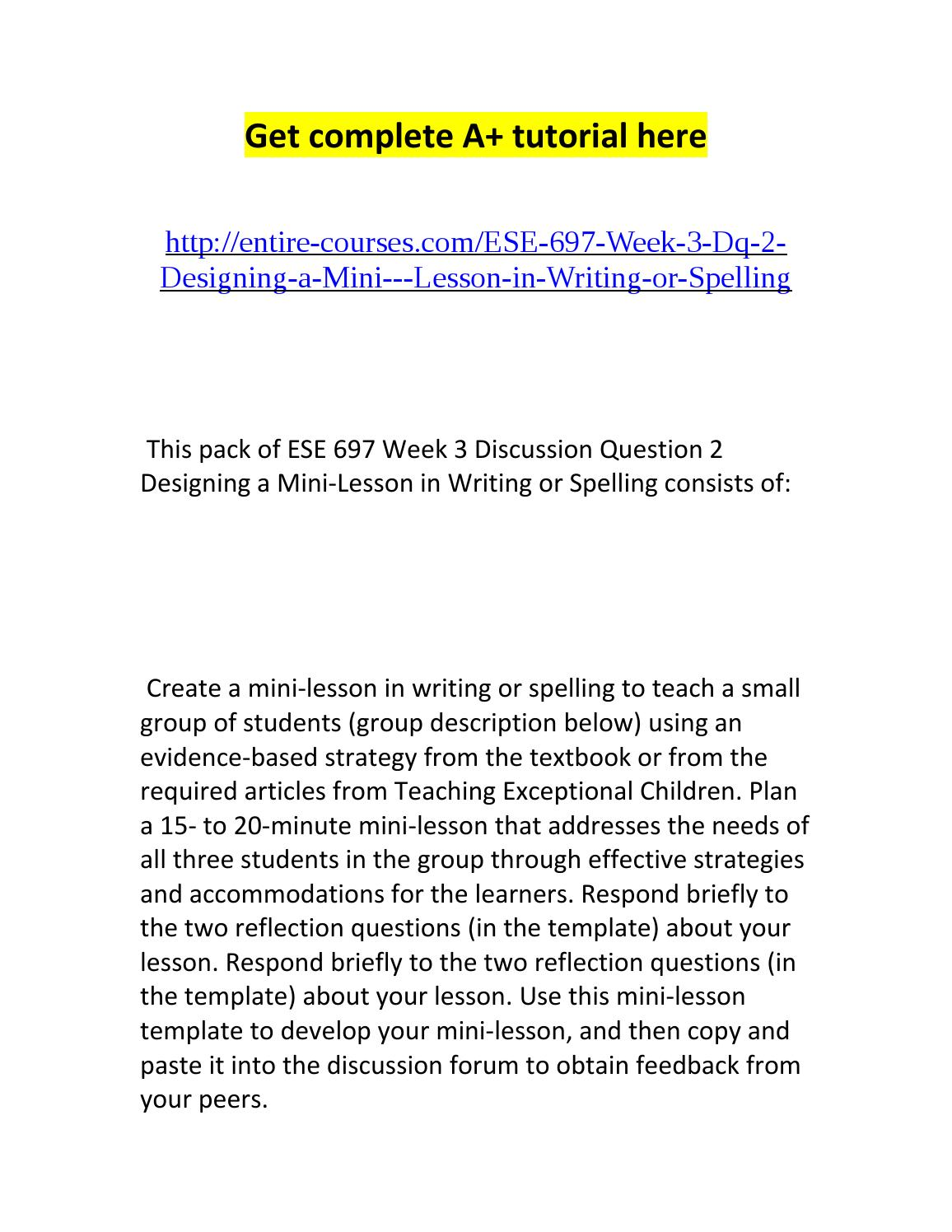 ese 697 week 3 dq 2 designing a mini lesson in writing or spelling