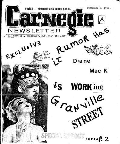 February 1, 1992, carnegie newsletter by Carnegie Newsletter