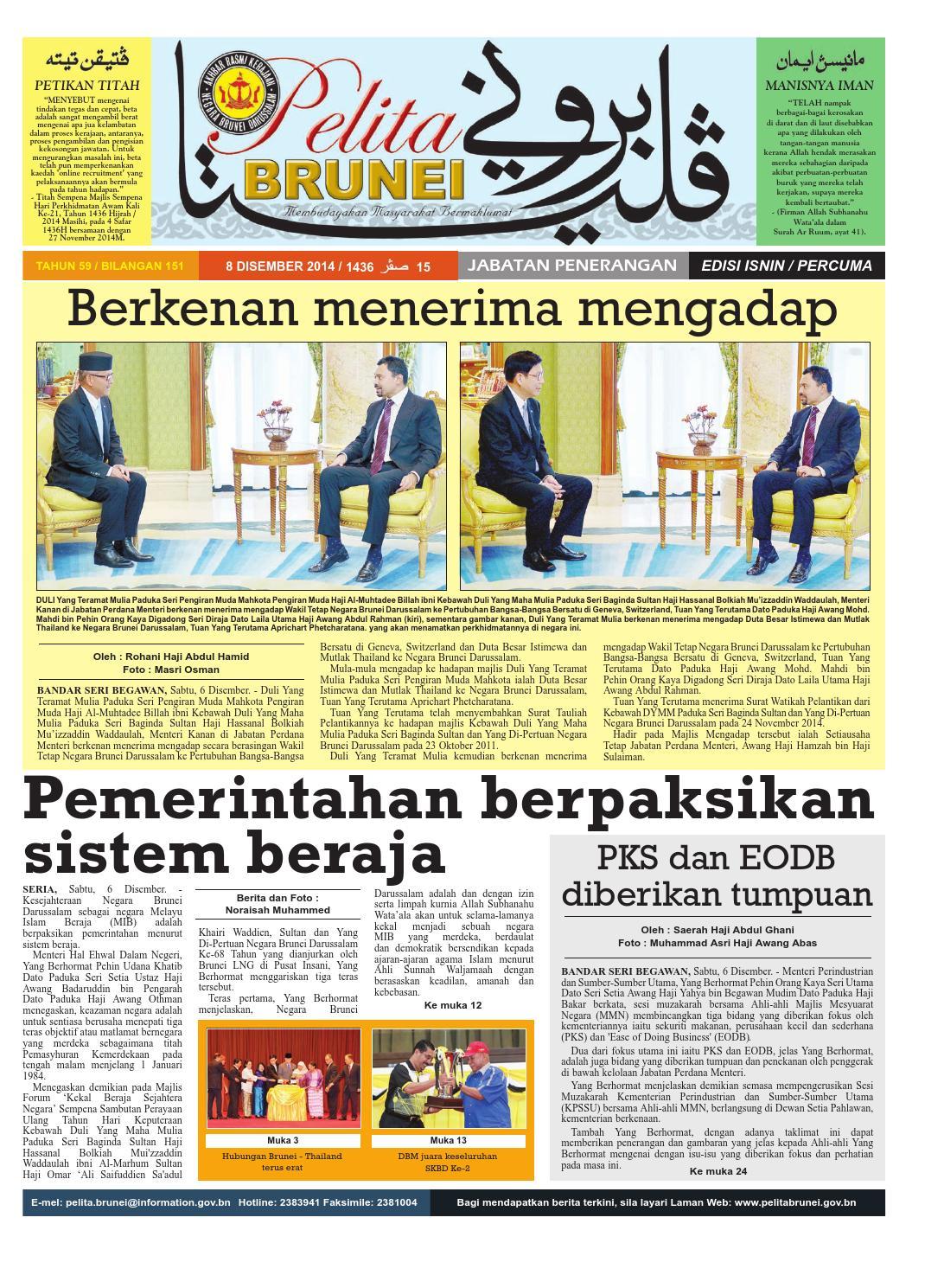 Pelita Brunei Isnin 8 Dis 2014 By Putera Katak Brunei Issuu