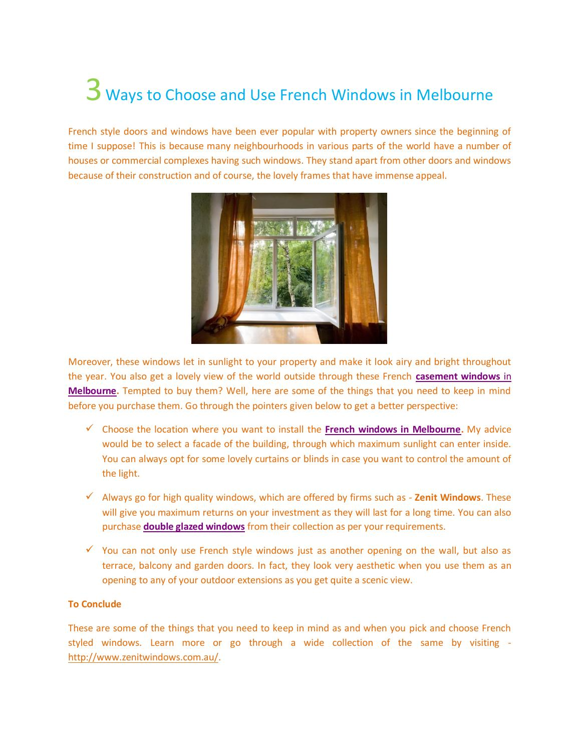 3 ways to choose and use french windows in melbourne by Zenit ...