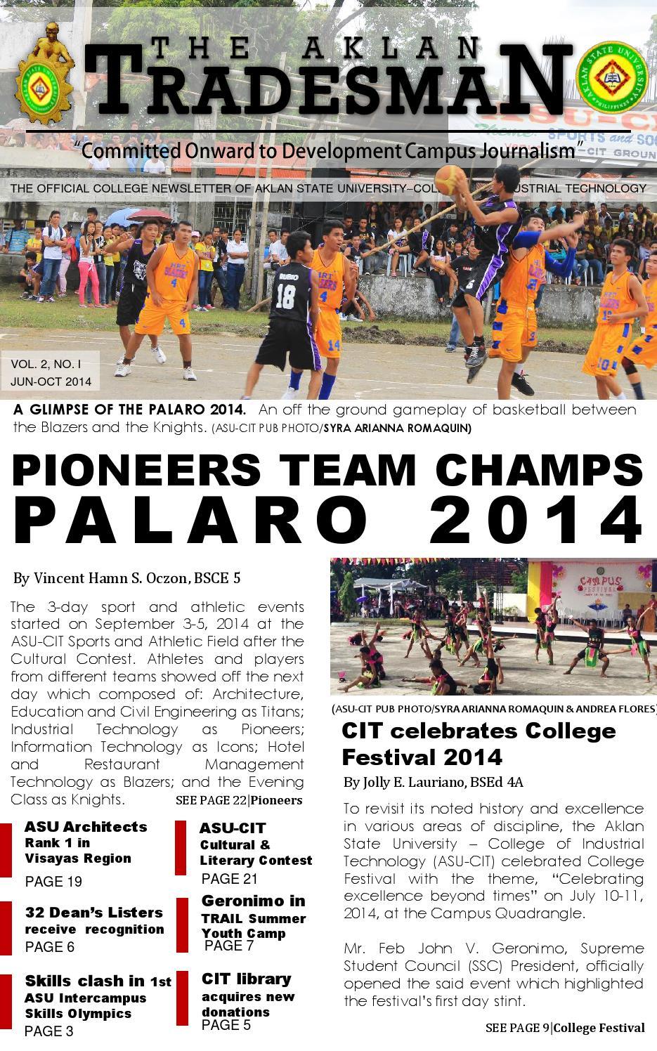 The Aklan Tradesman Newsletter (Volume 2, no 1, AY 2014-2015