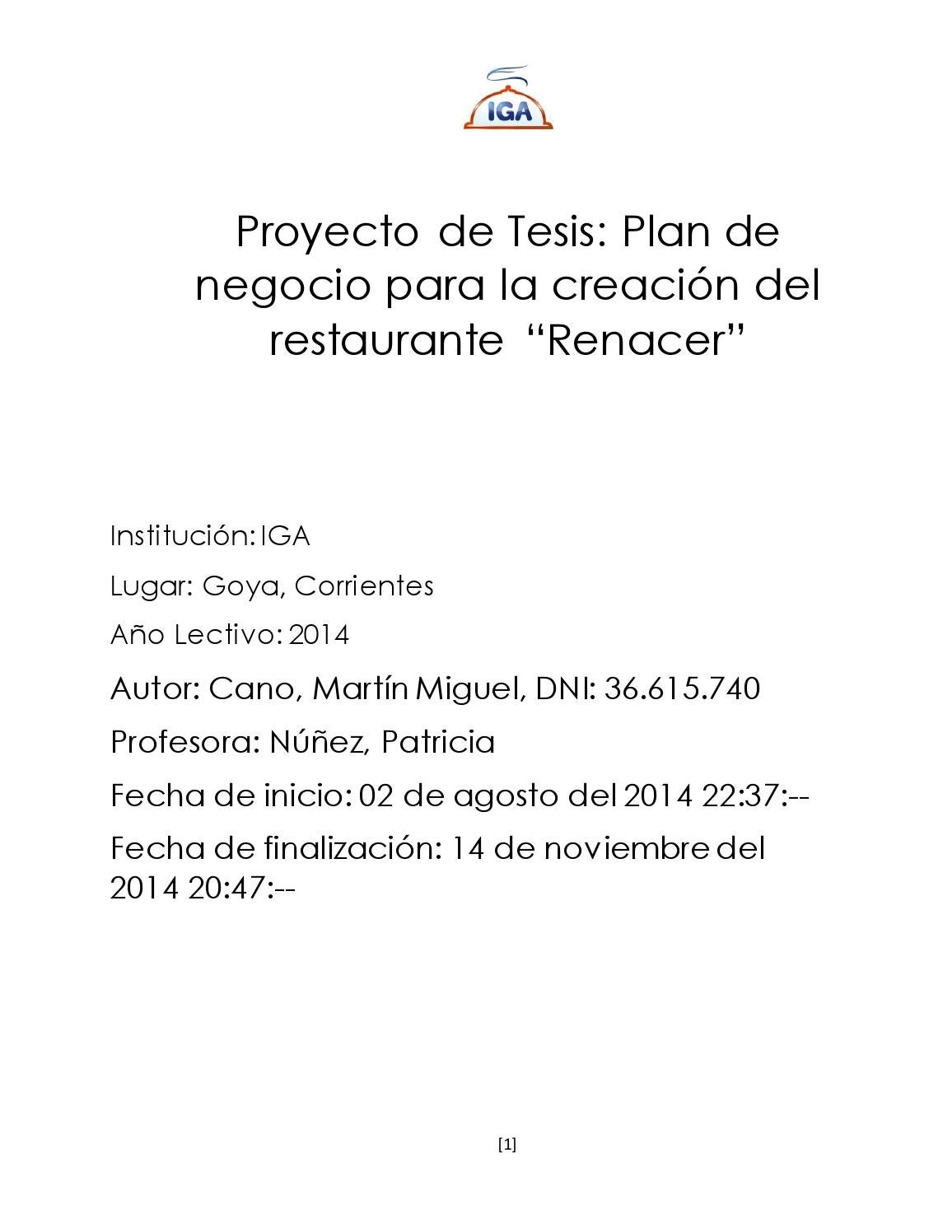 Tesis Restaurante Renacer by Martín M. Cano - issuu