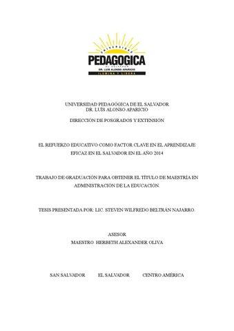 EL REFUERZO EDUCATIVO COMO FACTOR CLAVE EN EL APRENDIZAJE EFICAZ EN ...