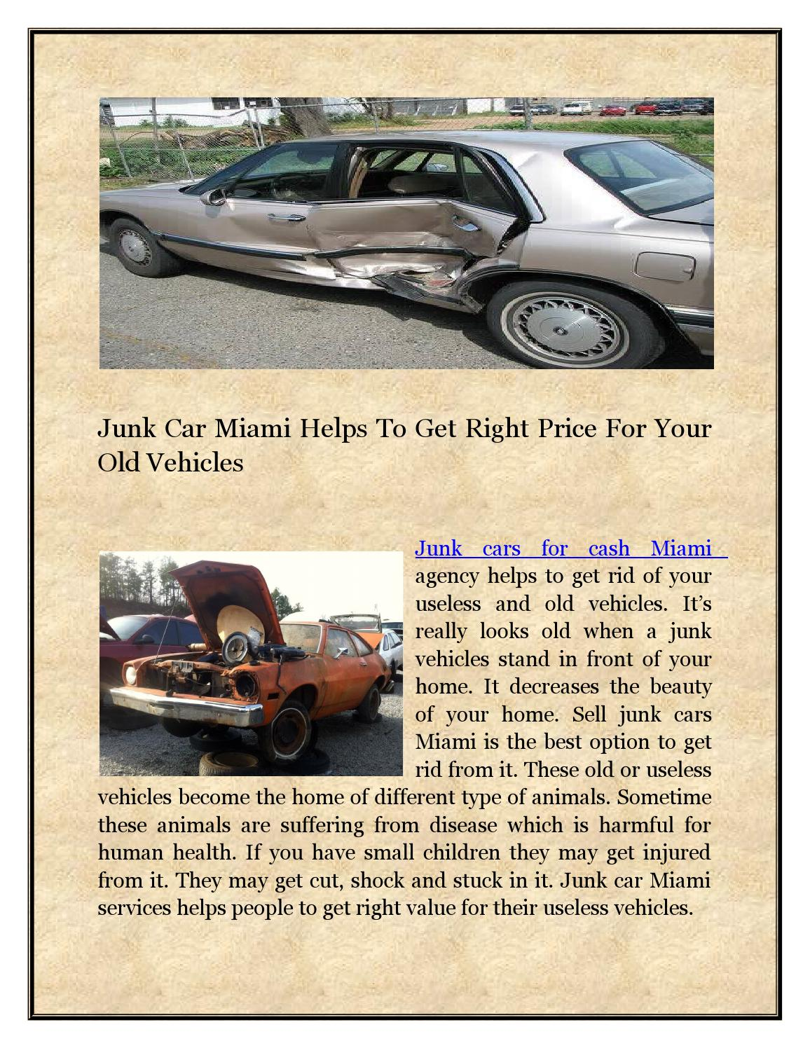 Junk Car Miami Helps To Get Right Price For Your Old Vehicles by ...
