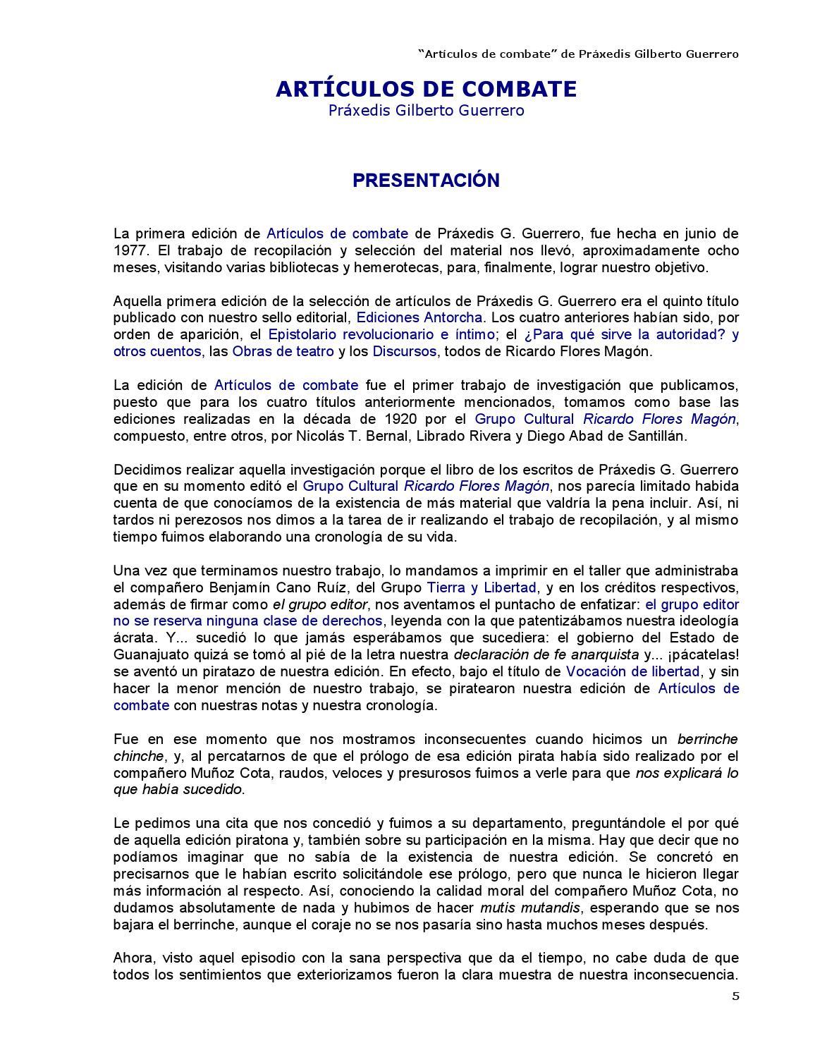 Artículos de combate - Práxedis G. Guerrero by Kclibertaria - issuu