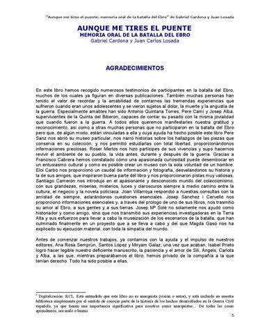"""58d842067 """"Aunque me tires el puente  memoria oral de la batalla del Ebro"""" de Gabriel  Cardona y Juan Losada"""