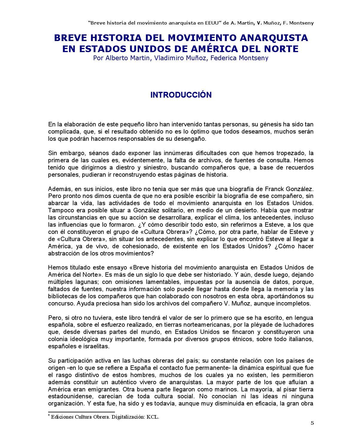 Breve Historia Del Movimiento Anarquista En Eeuu Varios By  # Muebles Faure Orizaba