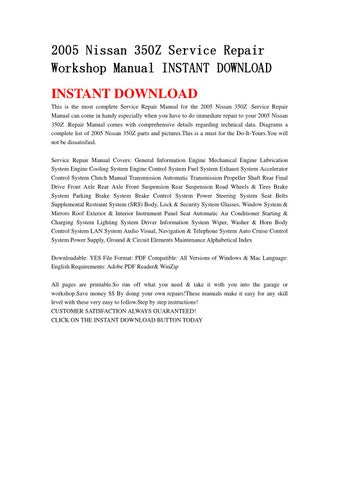2005 nissan 350z service repair workshop manual instant download by rh issuu com 350z 2005 owners manual 2006 350Z