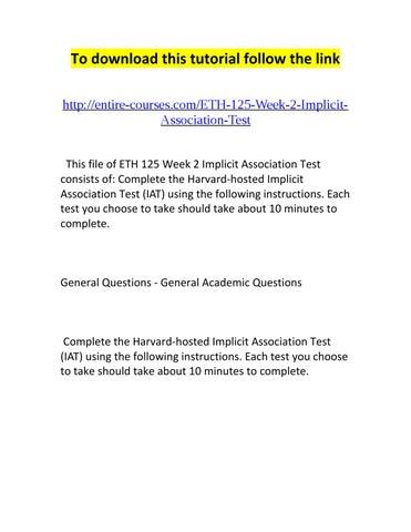 Eth 125 Week 2 Implicit Association Test By Zachary Issuu