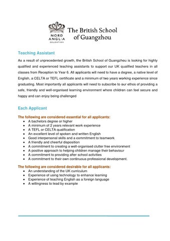 expat teaching assistant by the british school of guangzhou - issuu