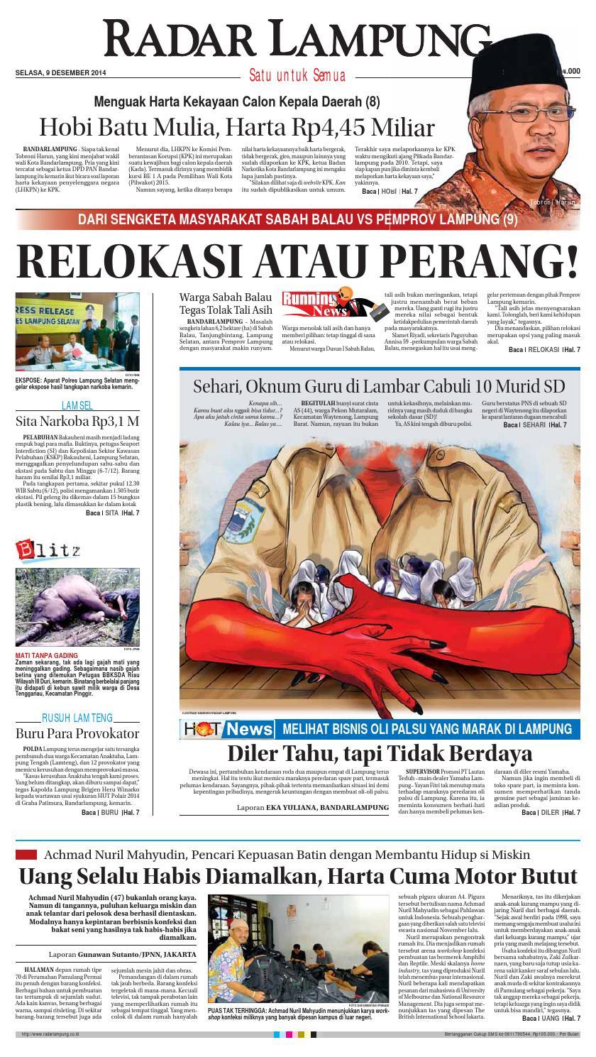 Radar Lampung Selasa 9 Desember 2014 By Ayep Kancee Issuu Mainan Mobil Anak Tomica Limited Vintage Series Datsun Bluebird 1300 Standard