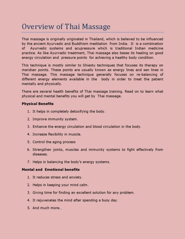 Overview of thai massage by Andres Johnson - issuu