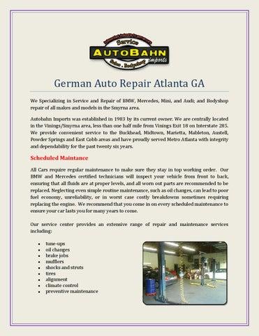 German Auto Repair Atlanta Ga By Autobahnimport Issuu - Audi repair atlanta