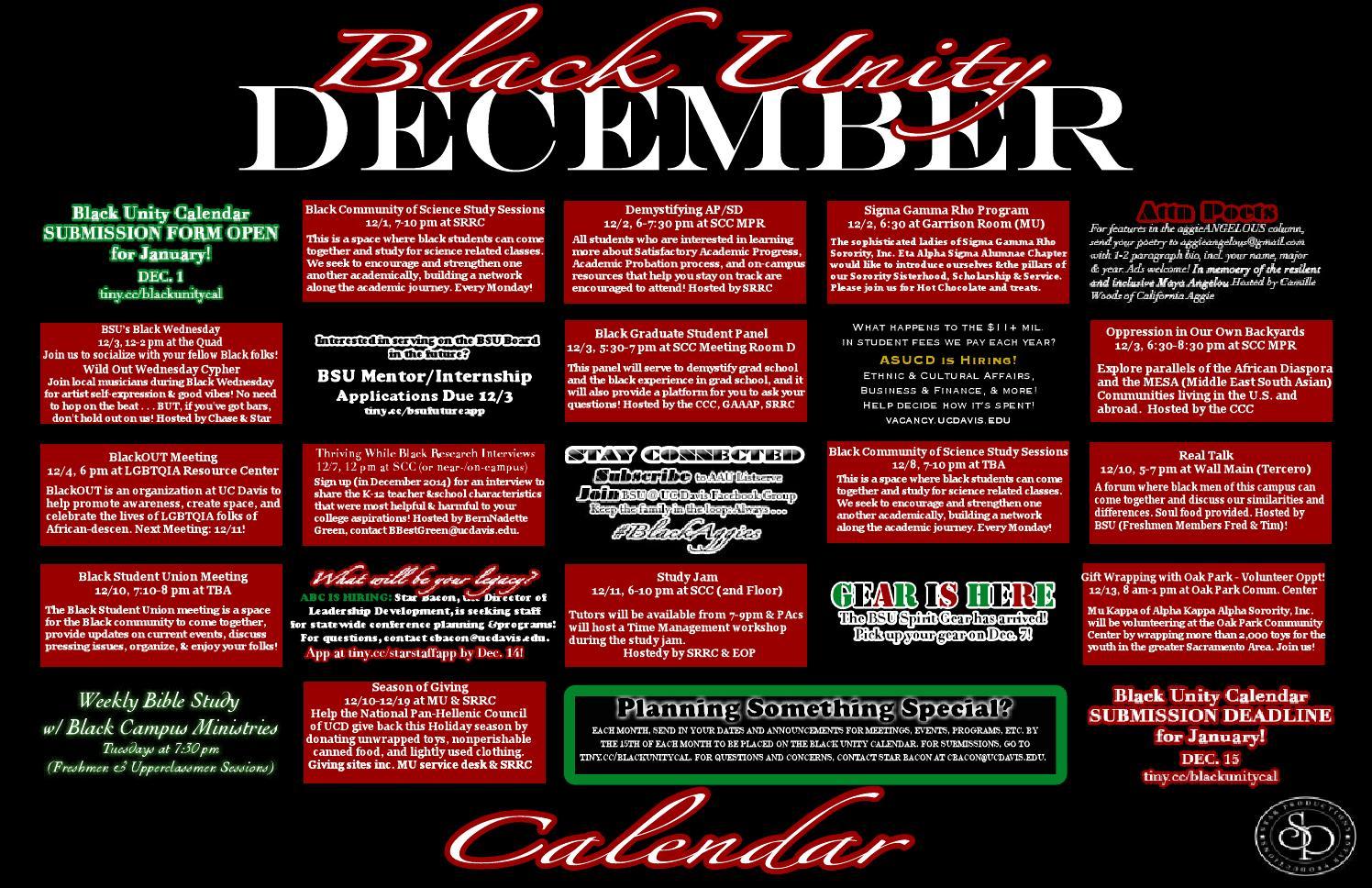 Uc Davis Academic Calendar.Black Unity Calendar By Star Bacon Issuu