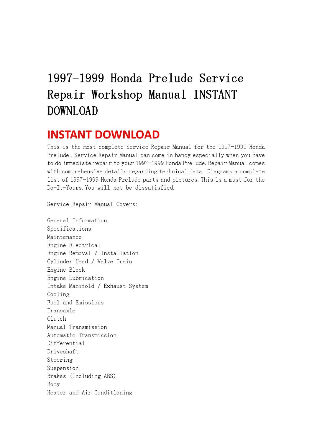 1997 1999 honda prelude service repair workshop manual ...