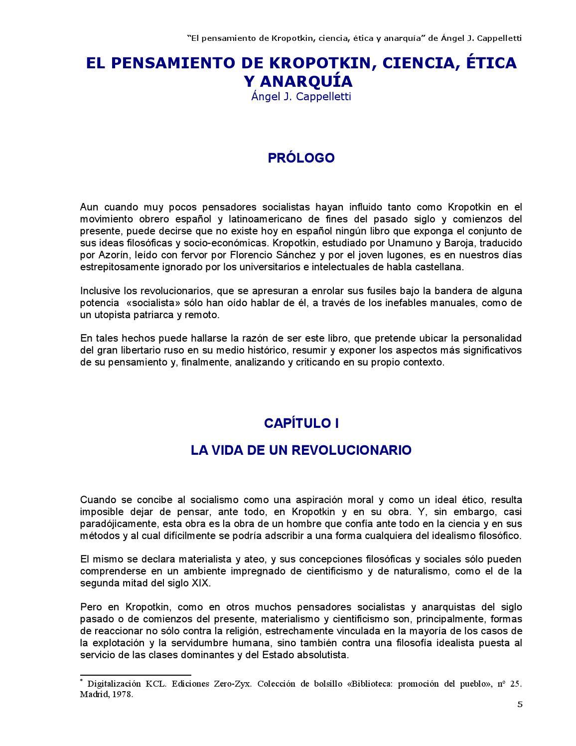 El pensamiento de Kropotkin - Ángel J. Cappelletti by Kclibertaria ...