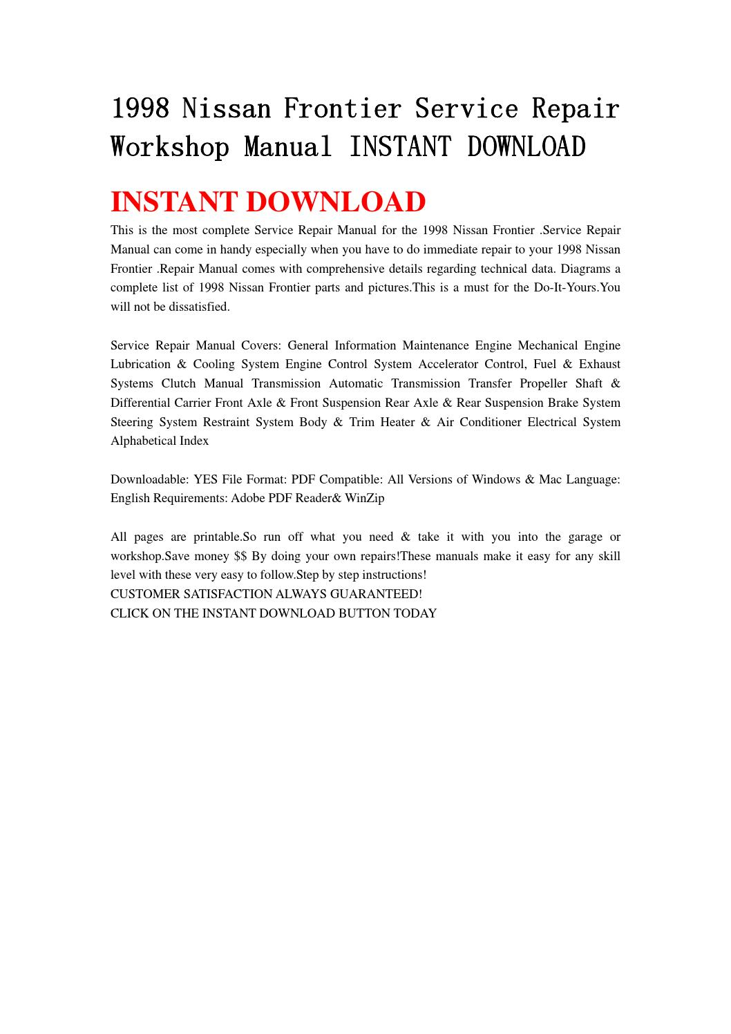 1998 nissan frontier service repair workshop manual instant download by  ujsmefmmes - issuu
