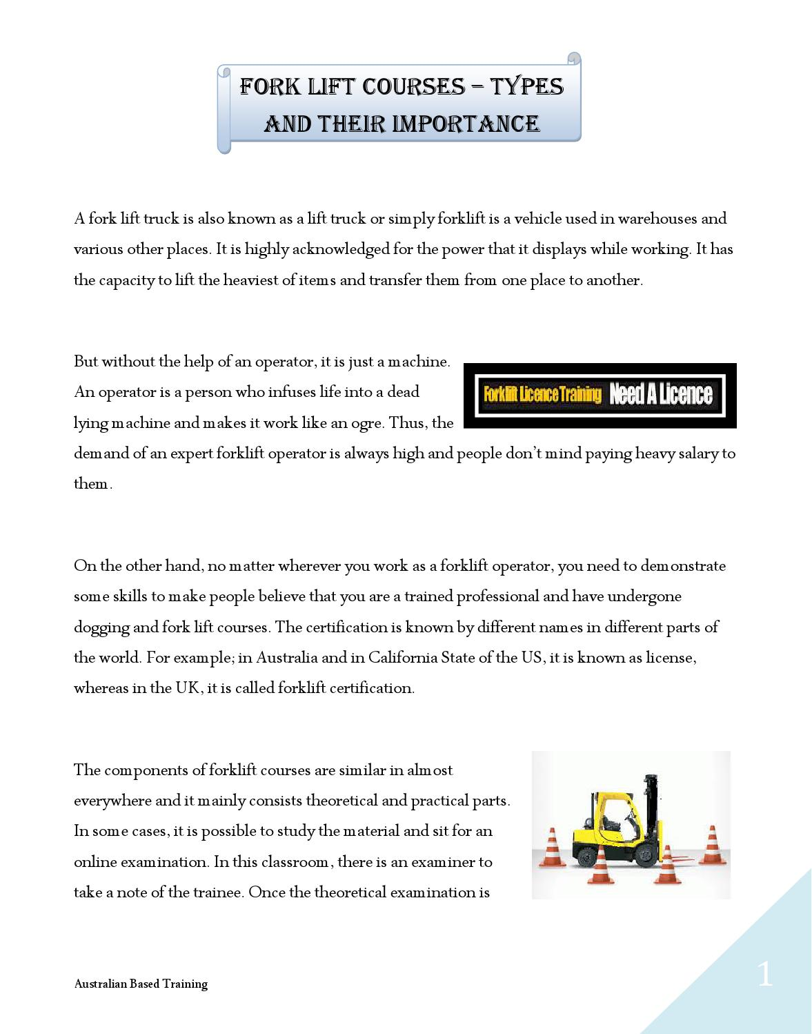 Fork Lift Courses Types And Their Importance By Darren Stanbridge