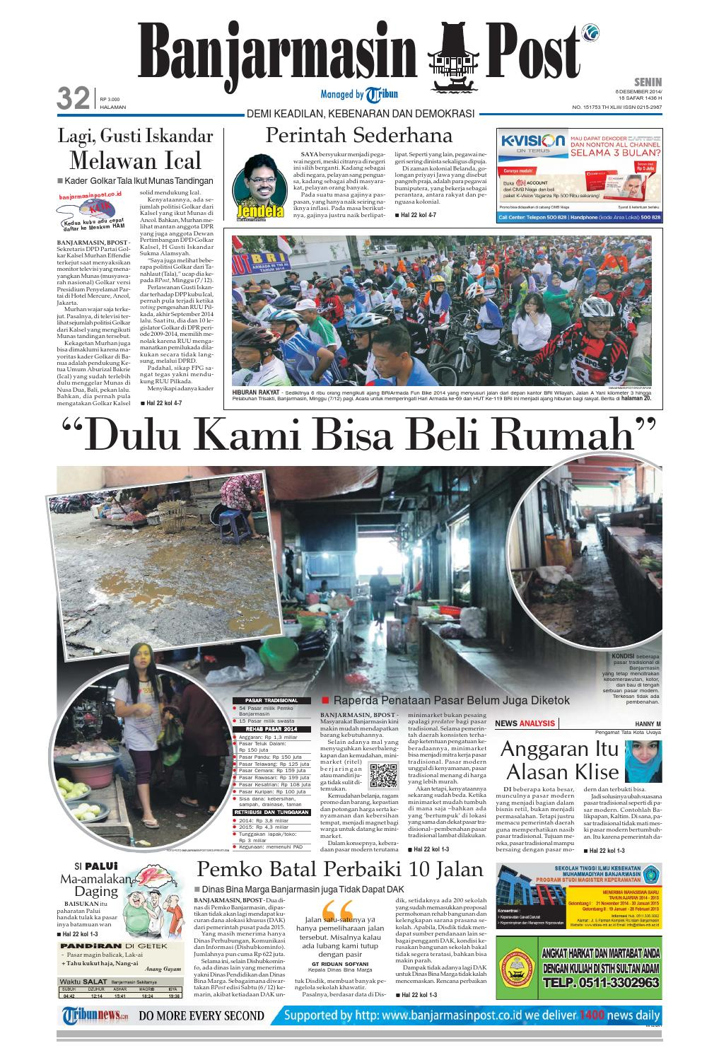 Banjarmasin Post Senin 8 Desember 2014 By Issuu Tcash Vaganza 35 Sarung Orange Instan Anak Usia 1 7 Tahun