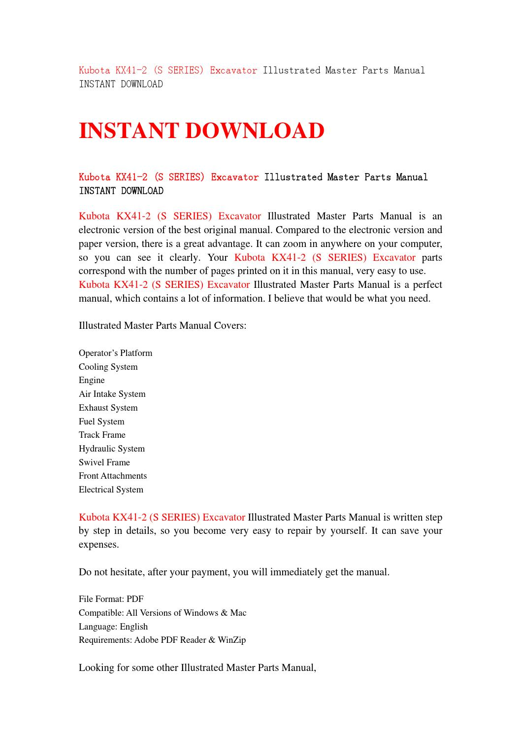 Kubota kx41 2 (s series) excavator illustrated master parts manual instant  download by iusefjsnen - issuu