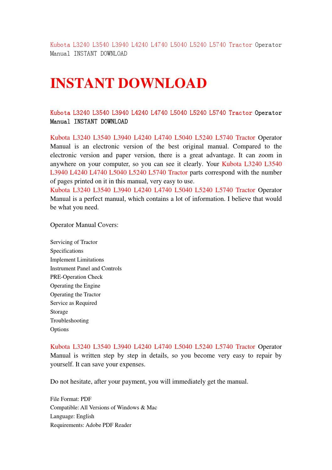 Kubota l3240 l3540 l3940 l4240 l4740 l5040 l5240 l5740 tractor operator  manual instant download by iusefjsnen - issuu