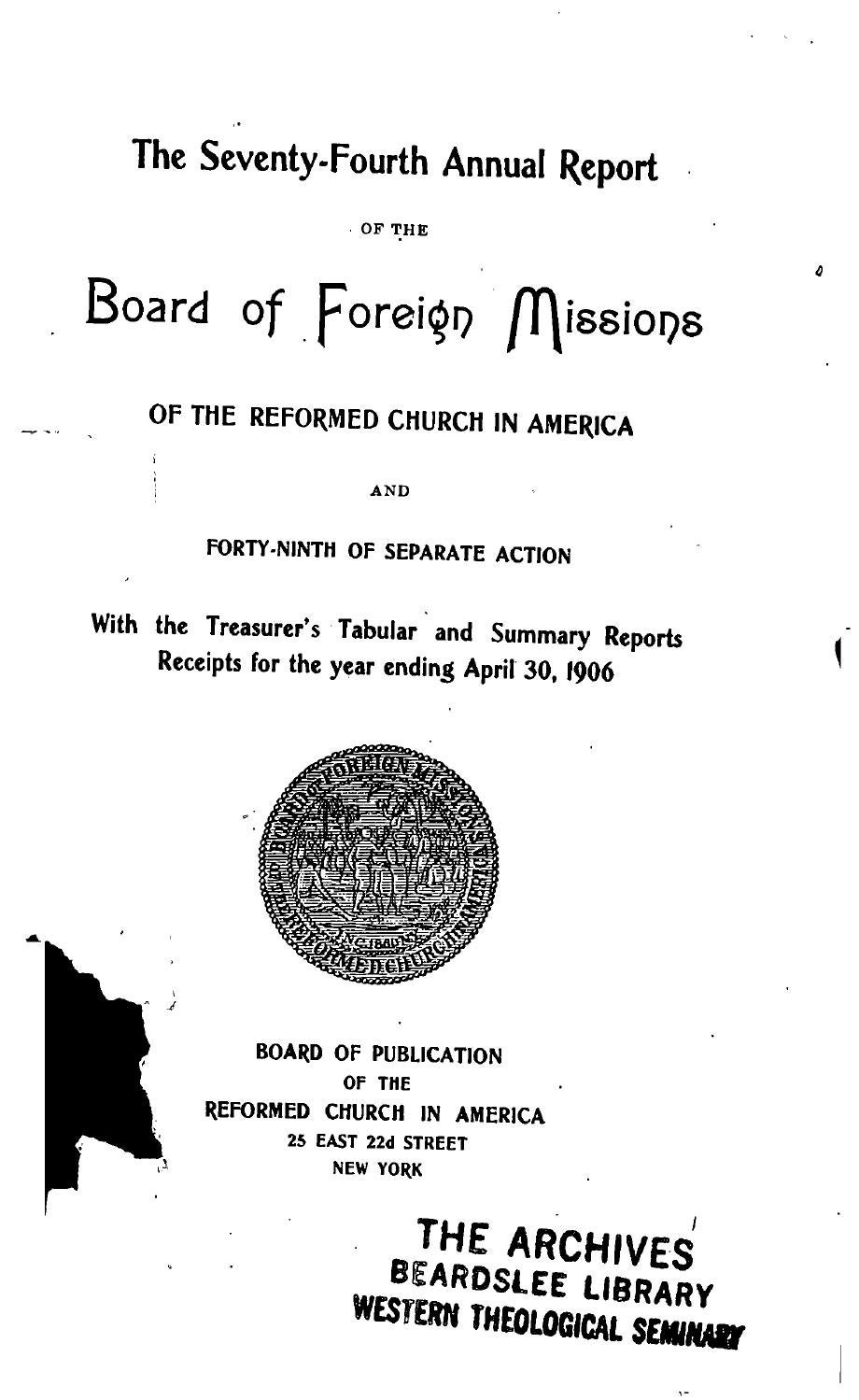 074 board of foreign missions rca 1906 by Hope College Library - issuu