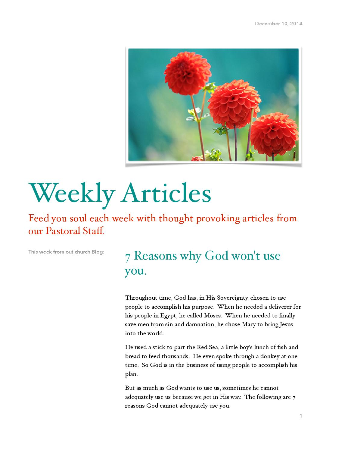 Weekly Articles by TAG Church - issuu