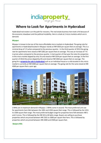 Elegant Where To Look For Apartments In Hyderabad Hyderabad Real Estate Is On The  Path For Recovery. The Real Estate Business Here Took A Hit Because Of The  ...