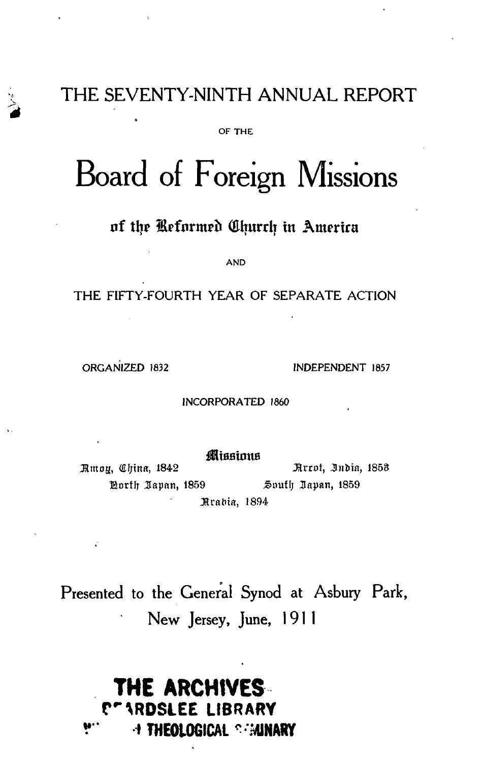 079 board of foreign missions rca 1911 by Hope College