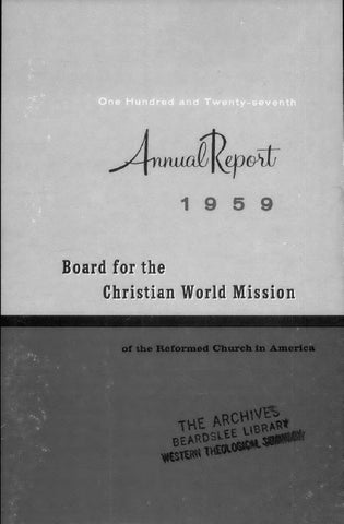 127 Board For The Christian World Mission Rca 1959 By Hope