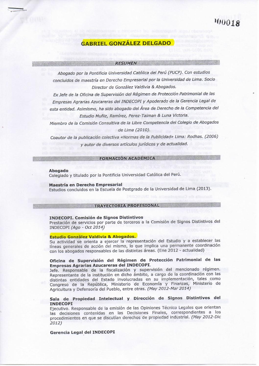 HOJAS DE VIDA DE ABOGADOS EXTERNOS PRIVADOS CONTRATADOS POR ...