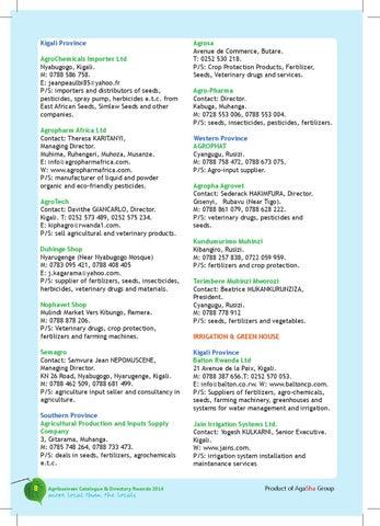 Rwanda Agribusiness Catalogue & Directory 2014 by Agasha Group - issuu