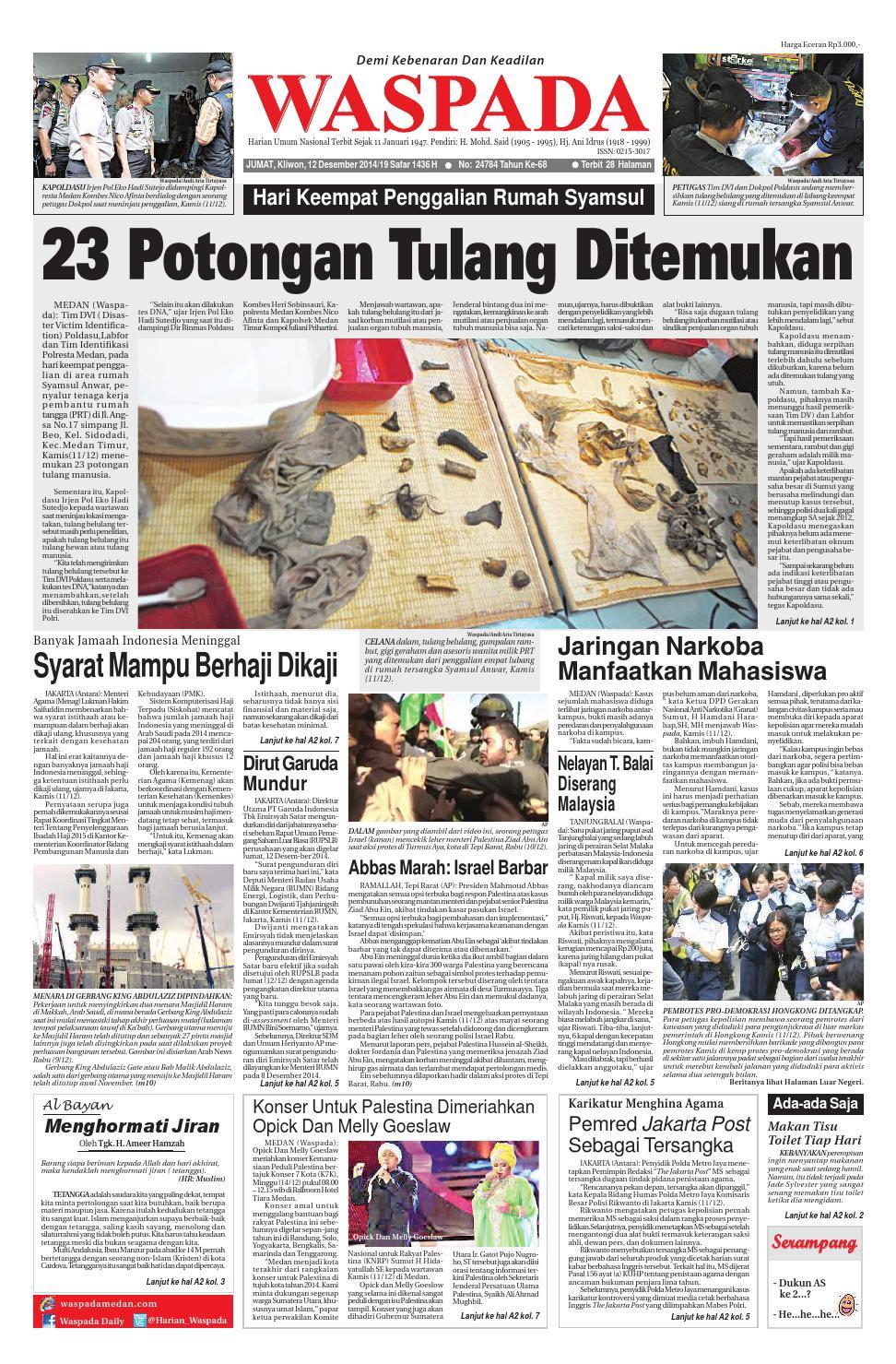 Waspada Jumat 12 Desember 2014 By Harian Waspada Issuu
