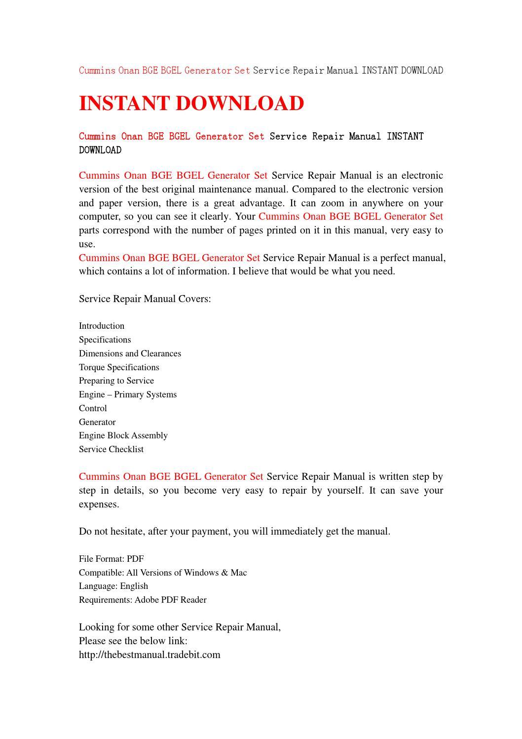 Cummins onan bge bgel generator set service repair manual instant download  by uhshefjnsne - issuu