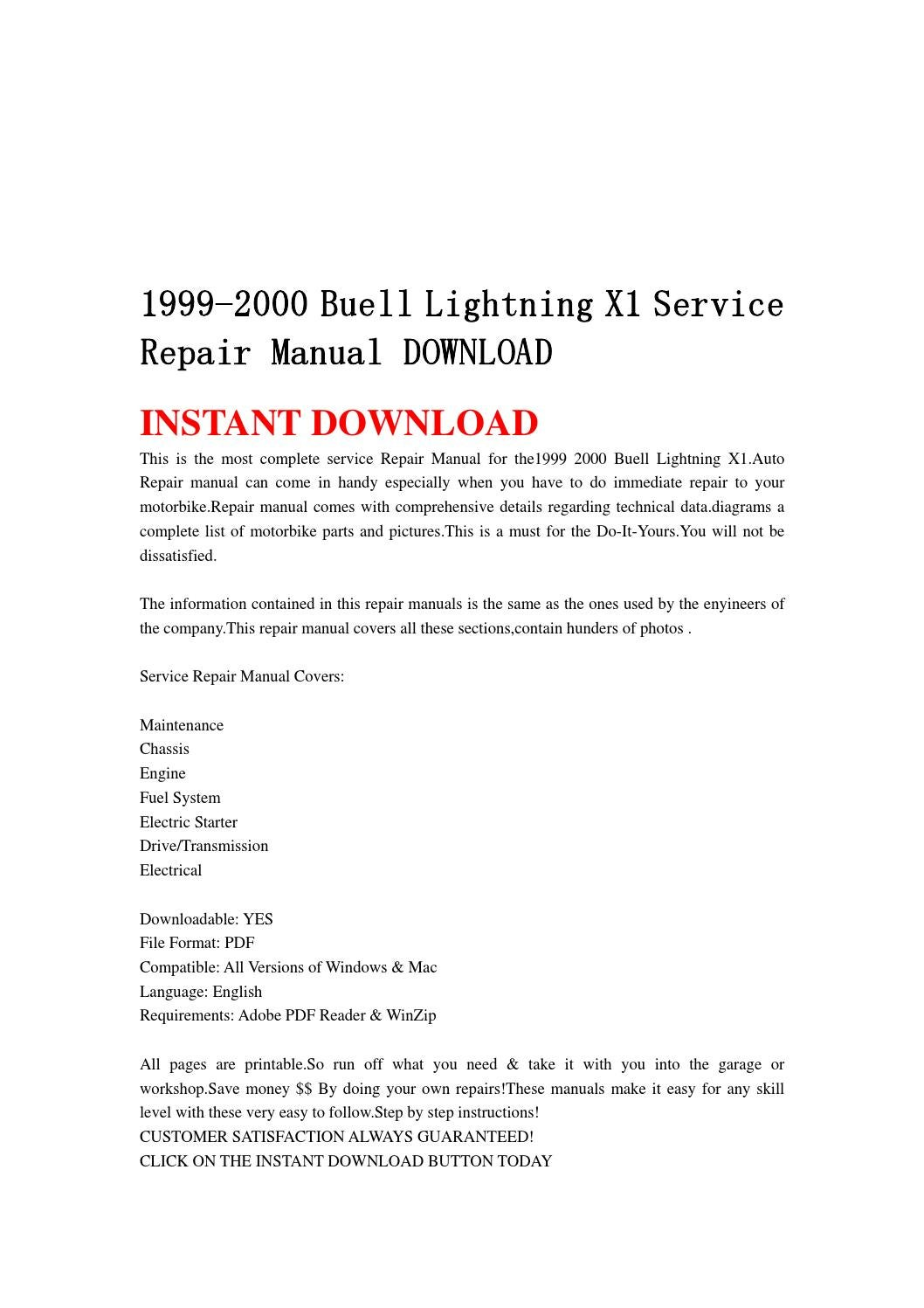 1999 2000 buell lightning x1 service repair manual. Black Bedroom Furniture Sets. Home Design Ideas