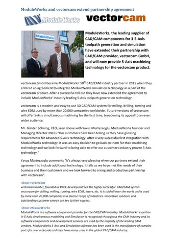 Moduleworks Press Release Moduleworks And Vectorcam Extend