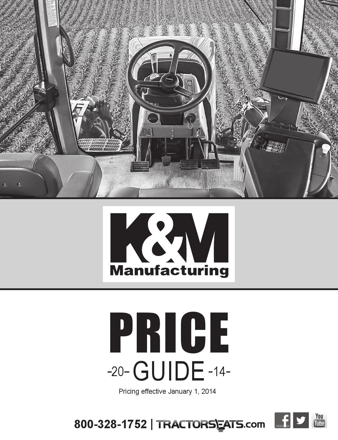 K/&M Manufacturing 6609 JD Utility Series Angled Support KM 235 UNI PRO Seat with Compact Mechanical Suspension