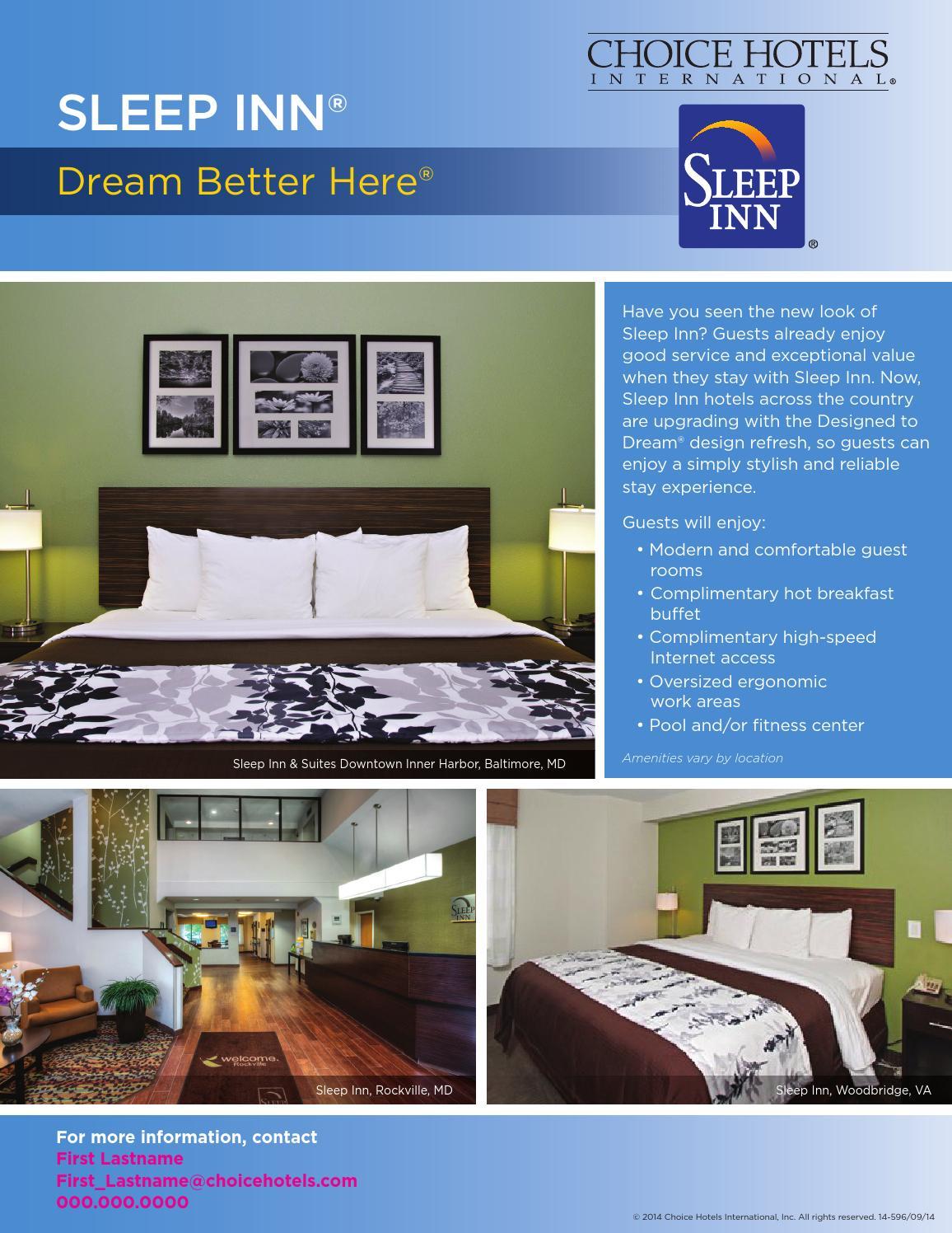 Sleep Inn Brand Dc Metropolitan Area By Choice Hotels International Issuu