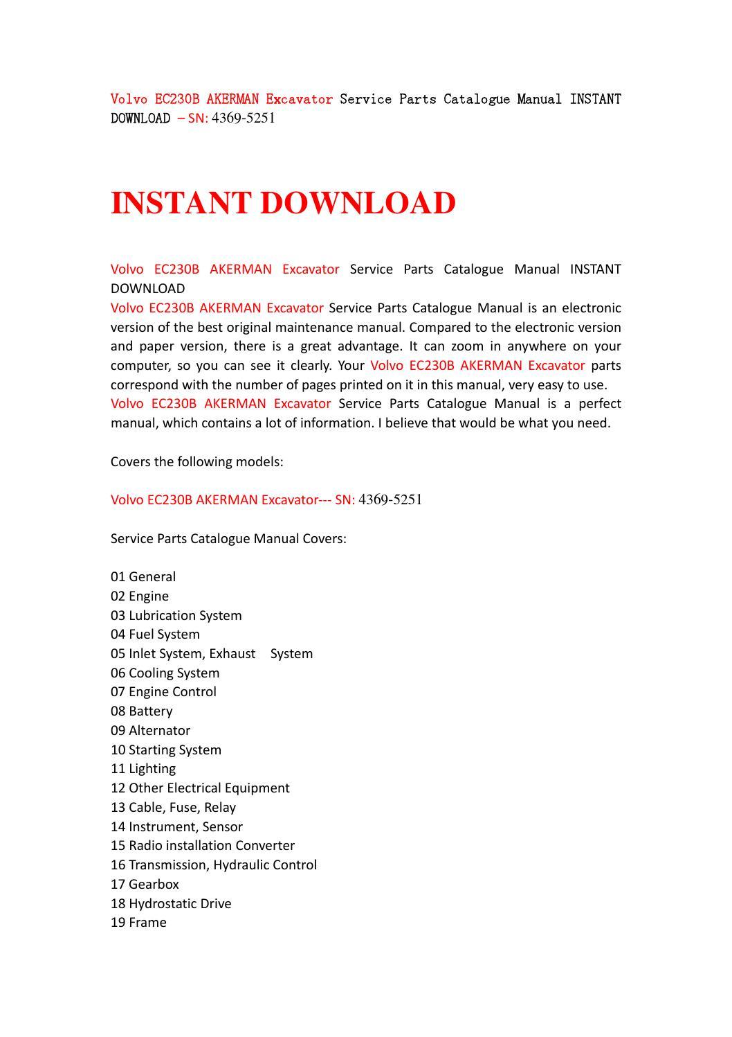 page_1 volvo ec230b akerman excavator service parts catalogue manual  at bayanpartner.co