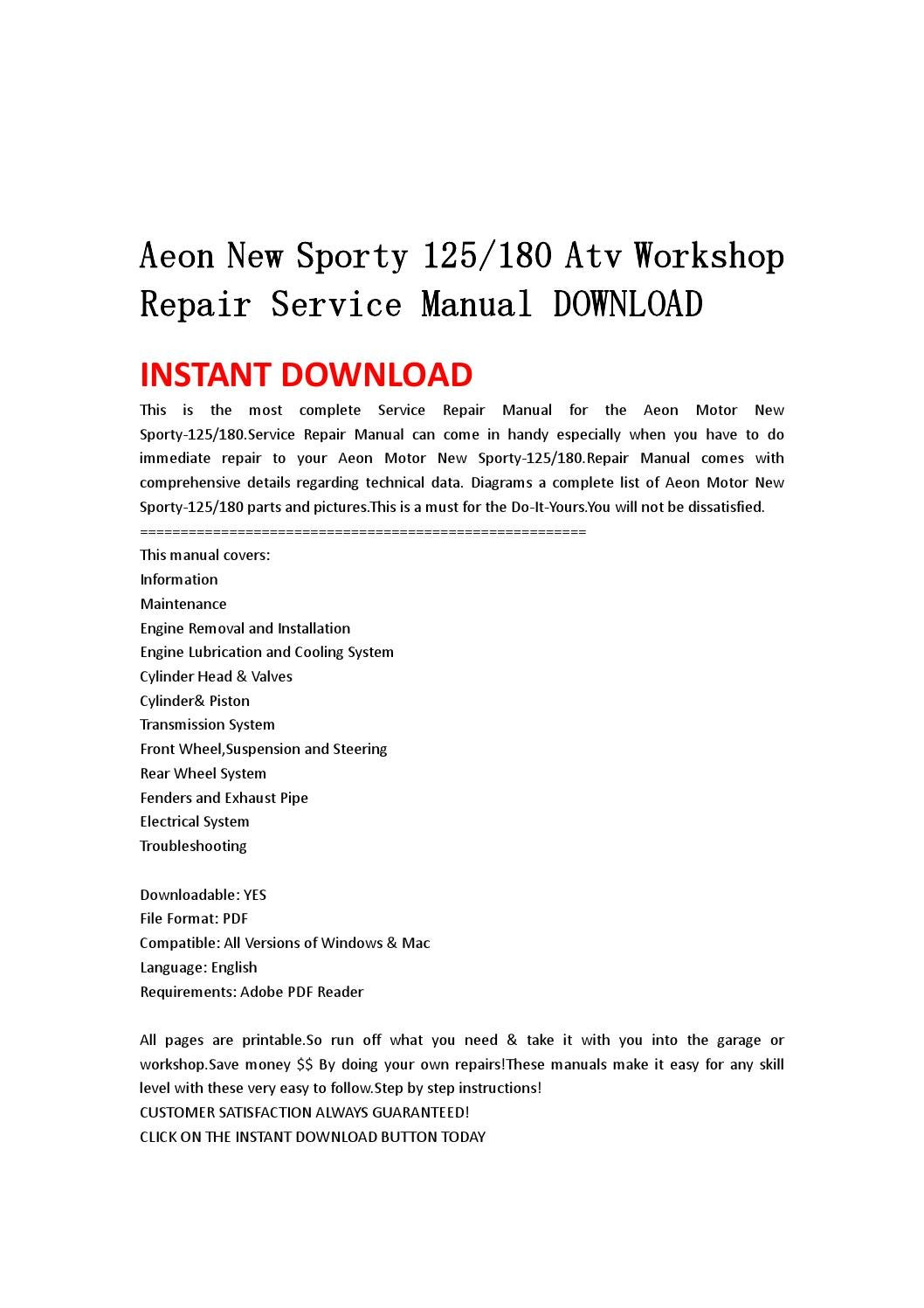 aeon new sporty 125180 atv workshop repair service manual. Black Bedroom Furniture Sets. Home Design Ideas