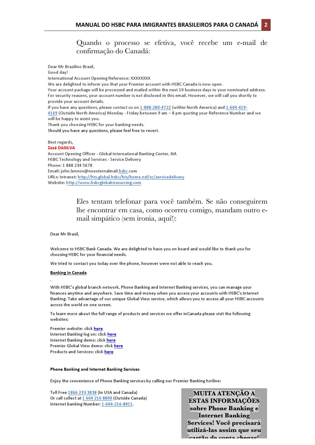 Manual do HSBC para Imigrantes Brasileiros para o Canadá