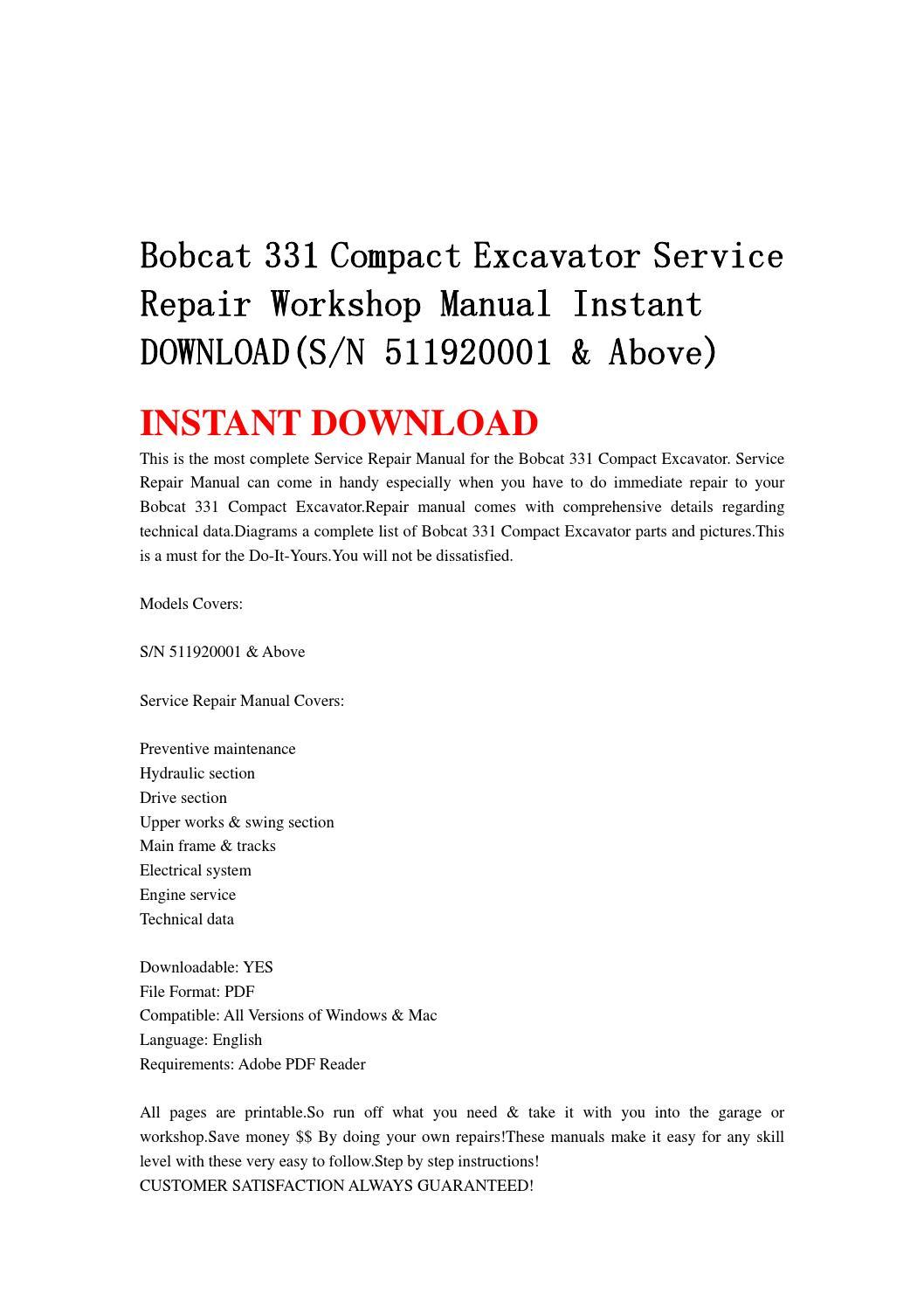 Bobcat 331 Compact Excavator Service Repair Workshop
