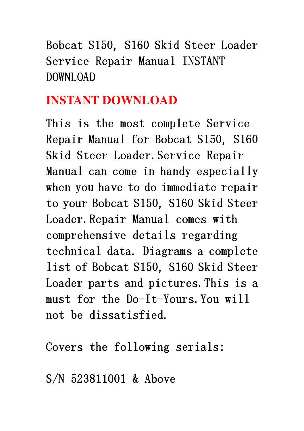 Bobcat S150  S160 Skid Steer Loader Service Repair Manual