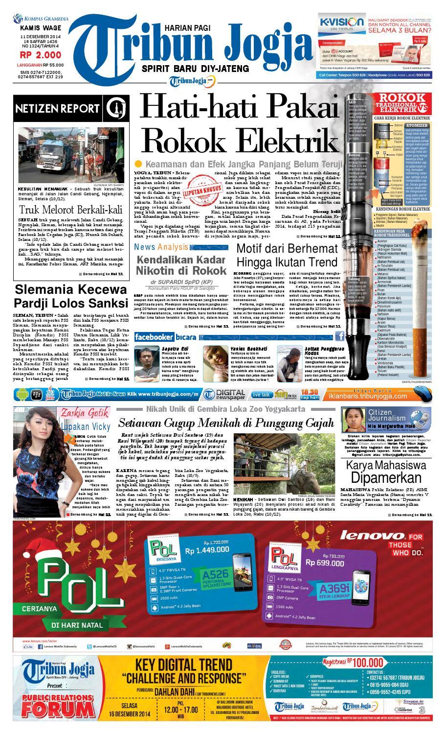 Tribunjogja 11 12 2014 By Tribun Jogja Issuu Strong Kangen Water Ph 115 Ukuran 1000 Ml Terapi Air Kelas Dunia Indonesia