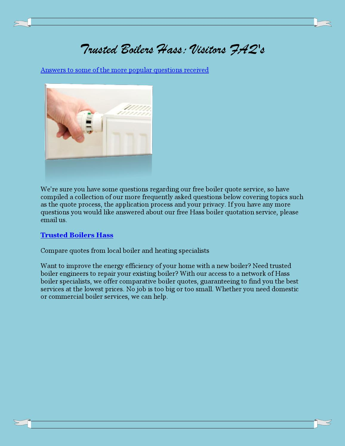 Trusted boilers hass visitors faq\'s by Cailin Maclntyre - issuu