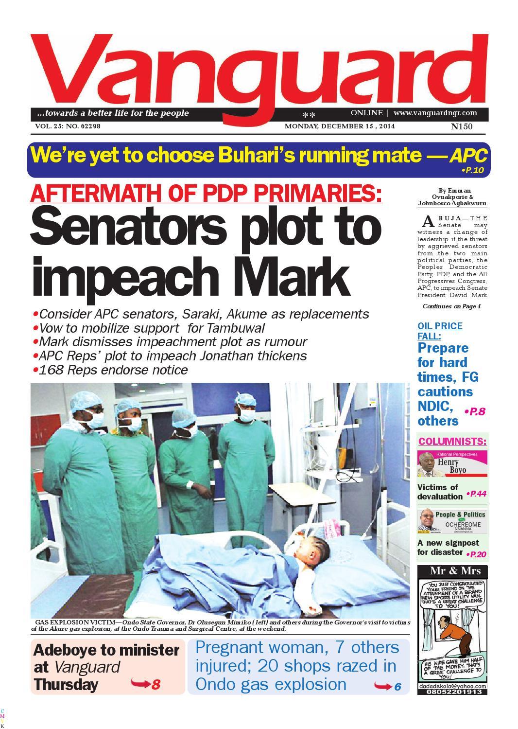 Aftermath Of Pdp Primaries Senators Plot To Impeach Mark By  # Pose Tele En Boi