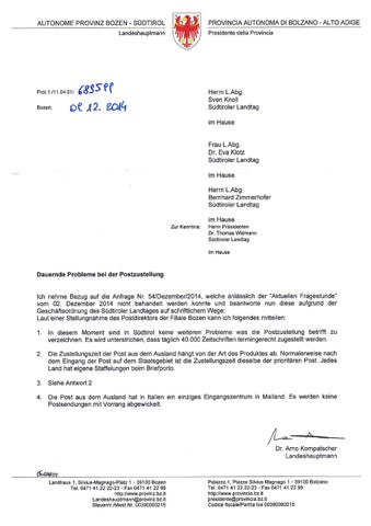 2014 11 24knollproblemepostzustellungantwort By Süd Tiroler
