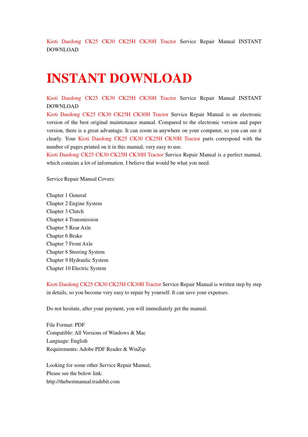 kioti daedong ck25 ck30 ck25h ck30h tractor service repair manual instant download