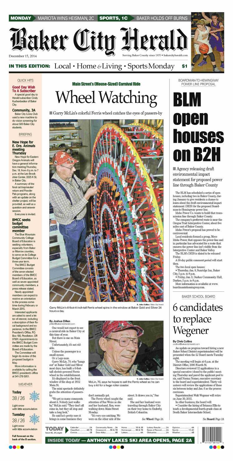 1b205ce541 Baker City Herald 12-15-14 by NorthEast Oregon News - issuu
