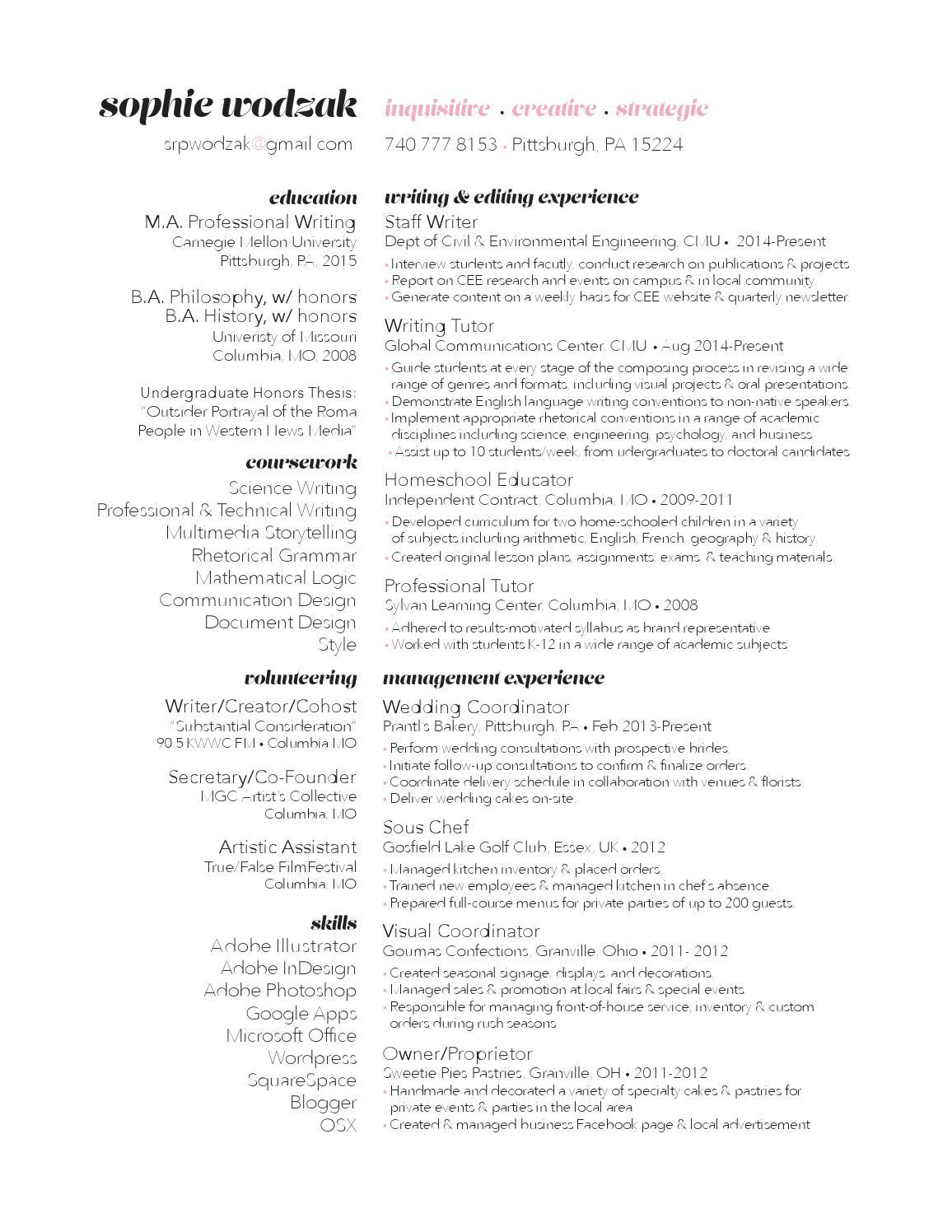 Design resume by srpwodzak - issuu